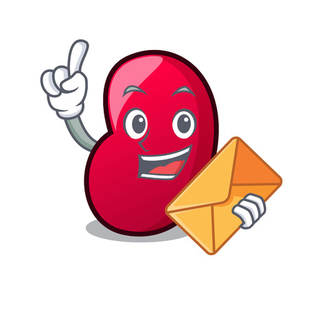 With envelope jelly bean character cartoon vector illustration Illustration