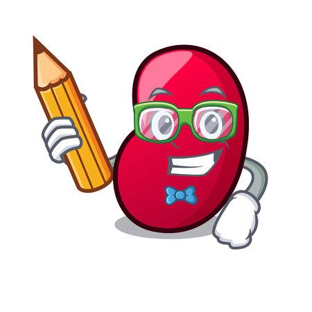 Student jelly bean character cartoon vector illustration Illustration