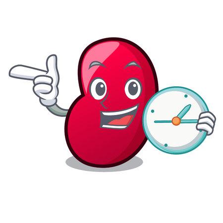 With clock jelly bean character cartoon vector illustration Illustration