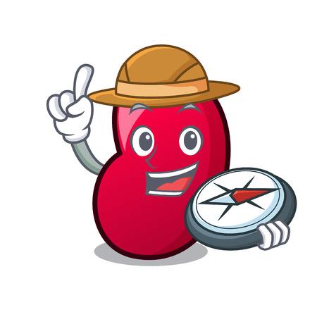 Explorer jelly bean mascot cartoon vector illustration Illustration