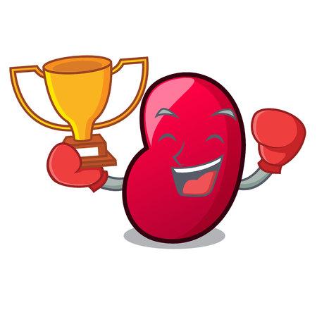 Boxing winner jelly bean mascot cartoon vector illustration