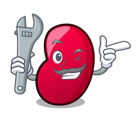 Mechanic jelly bean mascot cartoon vector illustration 일러스트