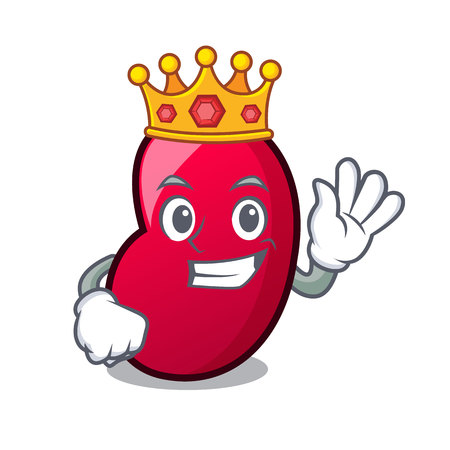 King jelly bean mascot cartoon vector illustration