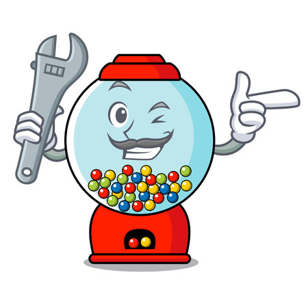 Mechanic gumball machine mascot cartoon vector illustration Banque d'images - 103552219