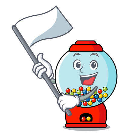 With flag gumball machine mascot cartoon vector illustration