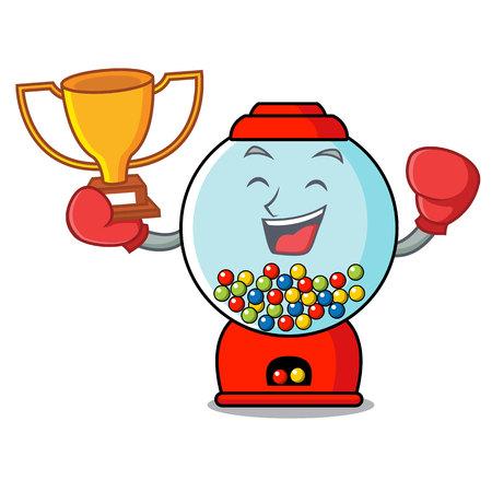 Boxing winner gumball machine mascot cartoon vector illustration Banque d'images - 103552207