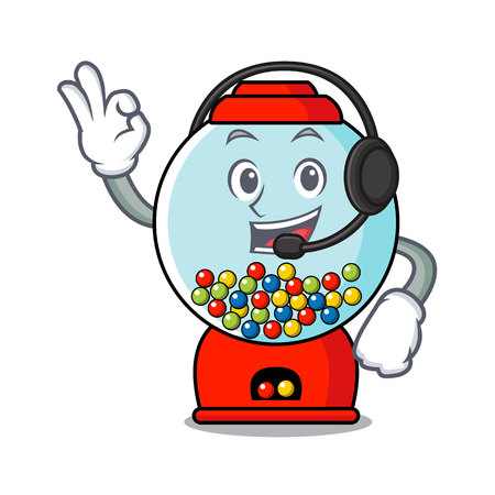 With headphone gumball machine mascot cartoon vector illustration Banque d'images - 103552208
