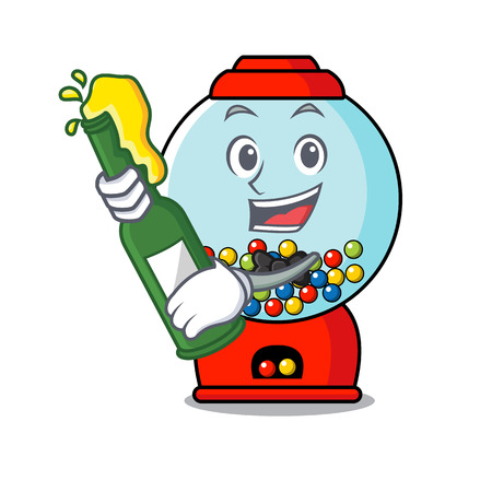 With beer gumball machine mascot cartoon vector illustration