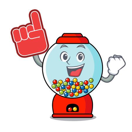 Foam finger gumball machine mascot cartoon vector illustration Banque d'images - 103552210