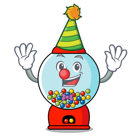 Clown gumball machine mascot cartoon vector illustration