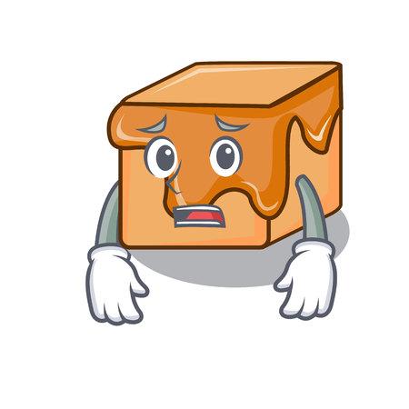 Afraid caramel candies mascot cartoon Illustration