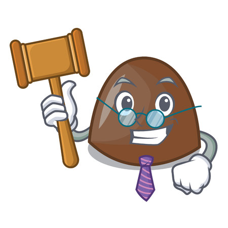 Judge chocolate candies mascot cartoon vector ilustration Çizim