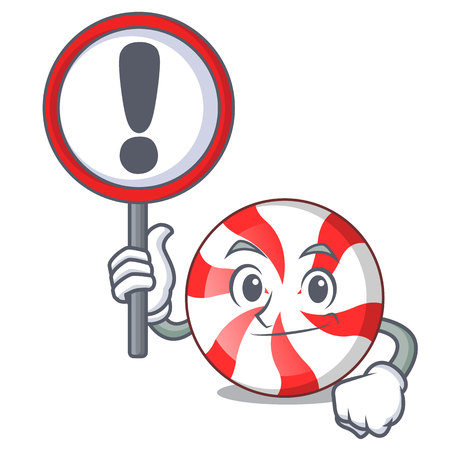 With sign peppermint candy character cartoon vector illustration Illustration