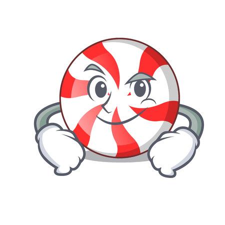 Smirking peppermint candy character cartoon vector illustration