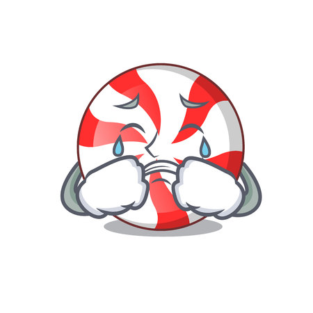 Crying peppermint candy mascot cartoon vector illustration Illustration