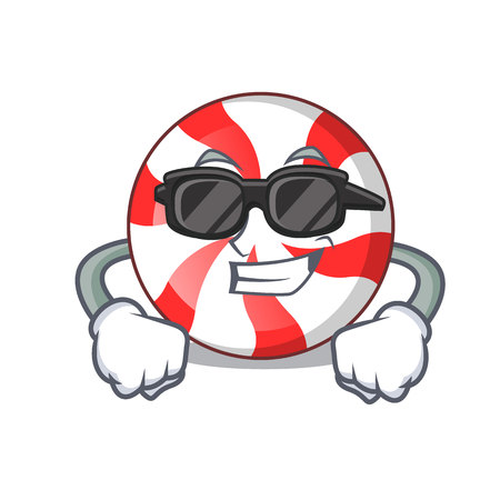 Super cool peppermint candy character cartoon vector illustration