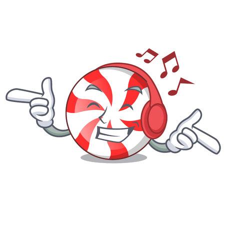 Listening music peppermint candy mascot cartoon vector illustration Illustration