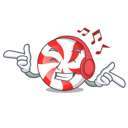 Listening music peppermint candy mascot cartoon vector illustration Ilustração