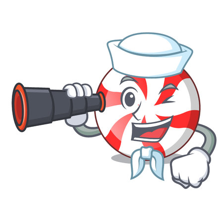 Sailor with binocular peppermint candy mascot cartoon vector illustration