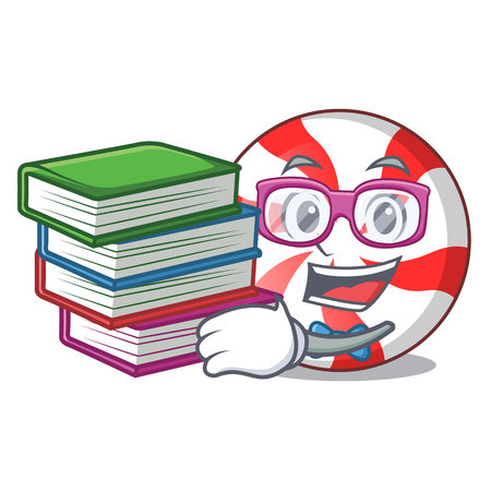 Student with book peppermint candy mascot cartoon vector illustration Ilustração