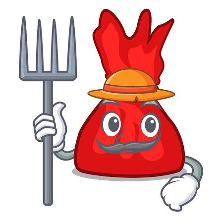 Farmer wrapper candy character cartoon vector illustration 矢量图像