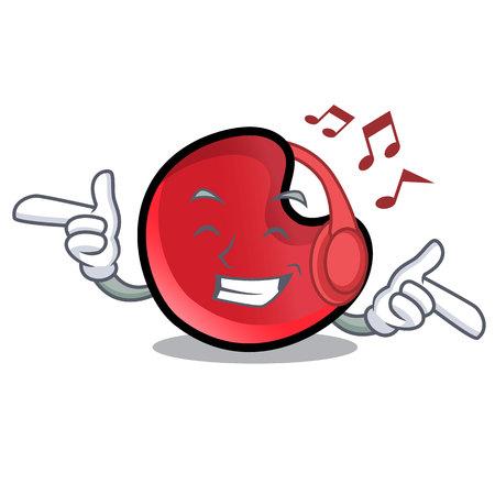 Listening music candy moon mascot cartoon vector illustration