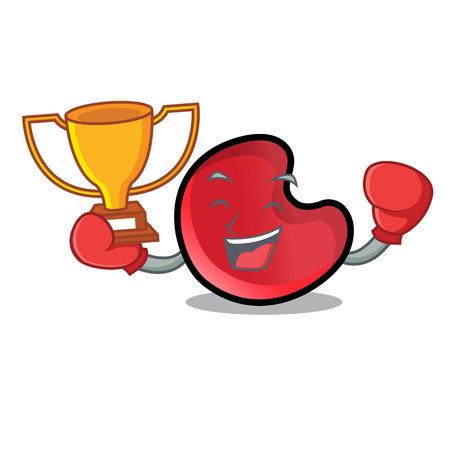 Boxing winner candy moon mascot cartoon vector illustration
