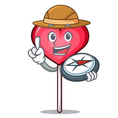 Explorer heart lollipop mascot cartoon vector illustration  イラスト・ベクター素材