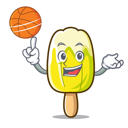 With basketball lemon ice cream character cartoon vector illustration 向量圖像