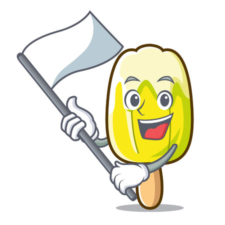 With flag lemon ice cream mascot cartoon Illustration