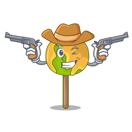 Cowboy candy apple character cartoon
