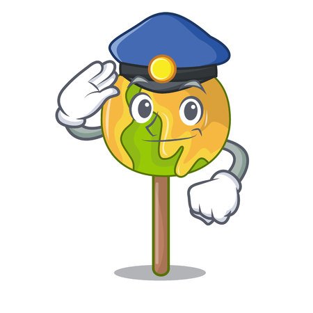 Police candy apple character cartoon