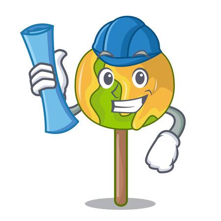 Architect candy apple character cartoon Illustration