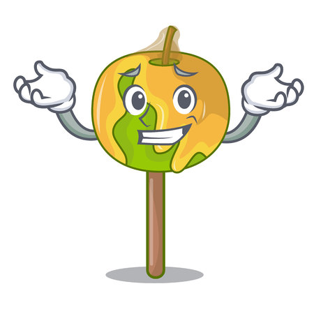 Grinning candy apple character cartoon