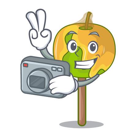 Photographer candy apple mascot cartoon