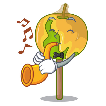 With trumpet candy apple mascot cartoon Illustration