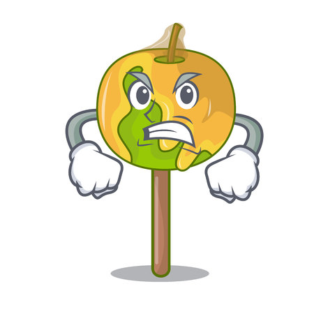 Angry candy apple mascot cartoon