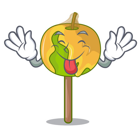 Tongue out candy apple mascot cartoon