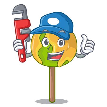 Plumber candy apple mascot cartoon
