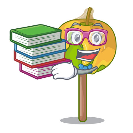 Student with book candy apple mascot cartoon  イラスト・ベクター素材