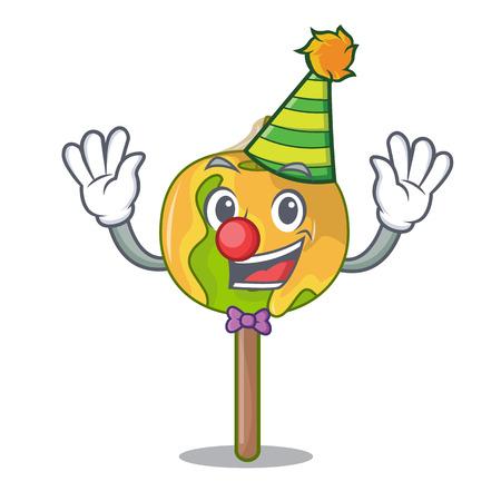 Clown candy apple mascot cartoon