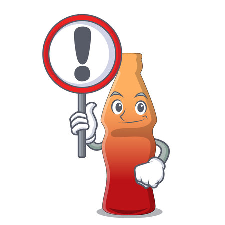 With sign cola bottle jelly candy character cartoon vector illustration