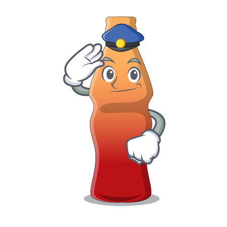 Police cola bottle jelly candy character cartoon vector illustration  イラスト・ベクター素材