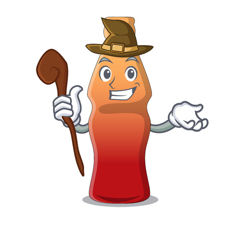 Witch cola bottle jelly candy mascot cartoon vector illustration Illustration