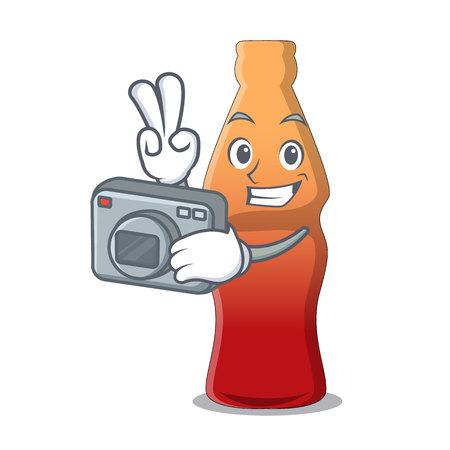 Photographer cola bottle jelly candy mascot cartoon vector illustration