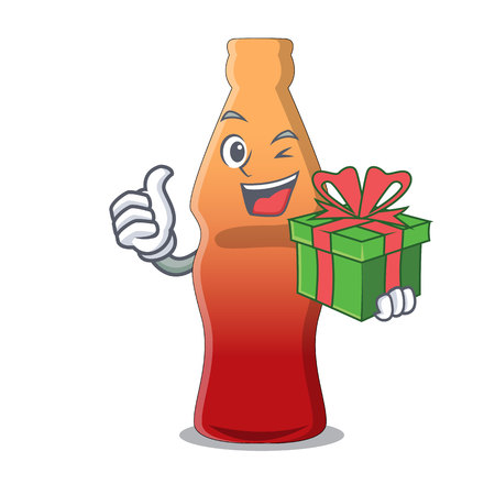 With gift cola bottle jelly candy mascot cartoon vector illustration