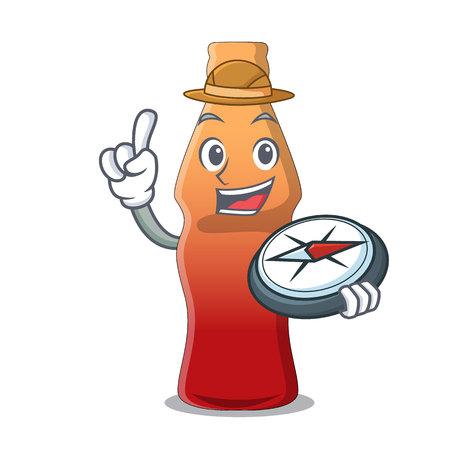 Explorer cola bottle jelly candy mascot cartoon vector illustration