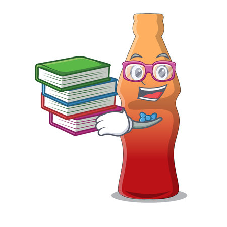 Student with book cola bottle jelly candy mascot cartoon vector illustration