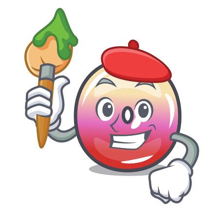 Artist jelly ring candy character cartoon vector illustration Ilustração