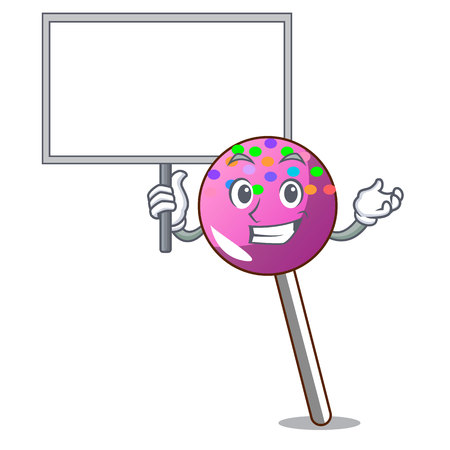 Bring board lollipop with sprinkles character cartoon vector illustration